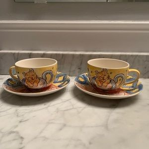 Hand-Painted Ceramic Cup & Saucer Set of 2